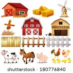 Illustration of the things and animals found at the farm on a white background - stock vector