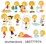 illustration of a young blondie'... | Shutterstock .eps vector #180777974