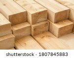 Stack Of Wooden Squared Beams...