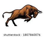 big aggressive muscle bull...   Shutterstock .eps vector #1807860076