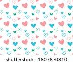 seamless pattern of hearts... | Shutterstock .eps vector #1807870810