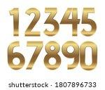 gold numbers. metal golden... | Shutterstock .eps vector #1807896733