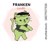 cute cat green frankenstein...   Shutterstock .eps vector #1807937530