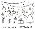 set of hand drawn december... | Shutterstock .eps vector #1807941499
