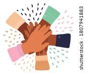 cartoon inter racial friendship ...   Shutterstock .eps vector #1807941883