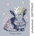 cute sweet hand drawn rabbit... | Shutterstock .eps vector #1807955629