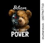 Inner Power Slogan With Bear...