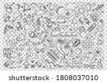 toys doodle set. collection of... | Shutterstock .eps vector #1808037010