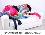 messy colorful clothing on... | Shutterstock . vector #180807530