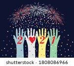 happy new year 2021 postcard... | Shutterstock .eps vector #1808086966