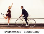 young vintage hipster pretty... | Shutterstock . vector #180810389