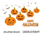 scary pumpkins isolated on... | Shutterstock .eps vector #1808105809