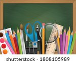 school background out of green... | Shutterstock .eps vector #1808105989