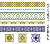 set of seamless borders and... | Shutterstock .eps vector #1808139736