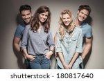 young happy casual women...   Shutterstock . vector #180817640