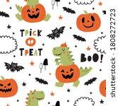 happy halloween dinosaur. cute... | Shutterstock .eps vector #1808272723