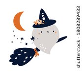 cute ghost flying on a broom.... | Shutterstock .eps vector #1808289433