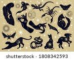 set of black silhouette mystery ... | Shutterstock .eps vector #1808342593