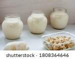 Jars With Freshly Made Soy Mil...