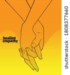holding hands in lines yellow... | Shutterstock .eps vector #1808377660
