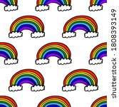 beautiful rainbow with clouds... | Shutterstock .eps vector #1808393149