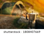 Coffee Pot With Steam In Front...