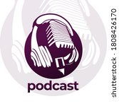 podcast logo. microphone with... | Shutterstock .eps vector #1808426170
