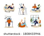 men and women work at home  the ... | Shutterstock .eps vector #1808433946