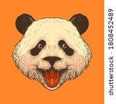 drawn panda head illustration...   Shutterstock .eps vector #1808452489