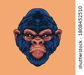 drawn monkey head illustration...   Shutterstock .eps vector #1808452510