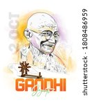 illustration of gandhi jayanti  ...   Shutterstock .eps vector #1808486959