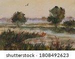 Watercolor Landscape Autumn...