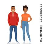 african young people in casual... | Shutterstock .eps vector #1808500186