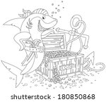 pirate shark with a treasure chest and anchor