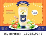 real mayonnaise ad with bottle... | Shutterstock .eps vector #1808519146