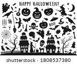 Set Of Halloween Black Icons....