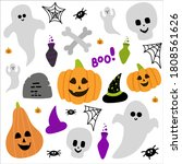 cute halloween set with scarry... | Shutterstock .eps vector #1808561626