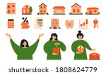 vector set real estate icons.... | Shutterstock .eps vector #1808624779