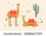 Cute Cartoon Camels On Light...