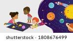 children sitting on floor...   Shutterstock .eps vector #1808676499