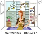 autumn story   a pretty woman... | Shutterstock .eps vector #18086917