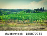 tuscan landscape with vineyards ... | Shutterstock . vector #180870758