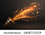 petard with gold confetti... | Shutterstock .eps vector #1808715529