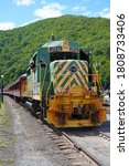 Small photo of JIM THORPE, PA -30 AUG 2020- View of the historic Lehigh Gorge Scenic Railway of Reading & Northern Railroad in Jim Thorpe, Carbon County, Pennsylvania, United States.