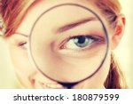 the woman with a magnifier in a ... | Shutterstock . vector #180879599