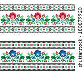 Seamless Polish folk pattern with flowers  - stock vector