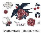 old school tattoo clipart set.... | Shutterstock .eps vector #1808874253