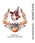 Watercolor Witch Portrait With...