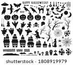 Set Of Halloween Black Icons...