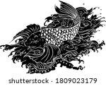 traditional japanese tattoo koi ... | Shutterstock .eps vector #1809023179